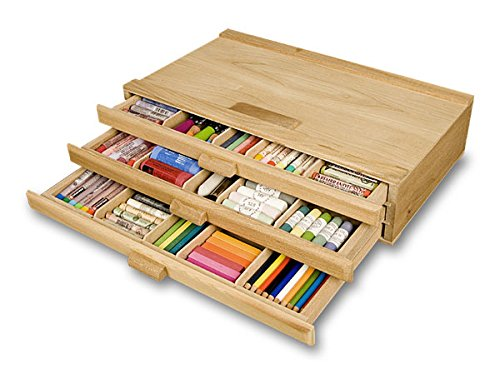 Pencil Storage Box (Creative Mark Pastel Storage Box, Wooden 3 Drawer, Sturdy & Stackable, Perfect For Pastels, Art Tools, Paint Brushes & Makeup Brushes -Natural Finish 9½