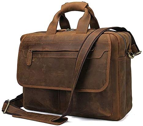 メンズブリーフケース メンズハンドバッグヨーロッパやアメリカのスタイルのレトロなレザーブリーフケースダブルジッパーメッセンジャーバッグ 便利で持ち運びが簡単 (Color : Brownish yellow, Size : 38x13x29cm)