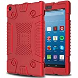 "Innens Fire HD 8 Case 2017, Amazon Kindle Fire HD 8""(7th Generation, 2017 Release)Slim Anti-Slip Soft Silicone Gel Protective Case (Red)"