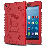 Innens Fire HD 8 Case 2017, Amazon Kindle Fire HD 8''(7th Generation, 2017 Release)Slim Anti-Slip Soft Silicone Gel Protective Case (Red)