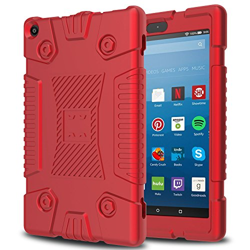 Innens Fire HD 8 Case 2017, Amazon Kindle Fire HD 8''(7th Generation, 2017 Release)Slim Anti-Slip Soft Silicone Gel Protective Case (Red) by Innens