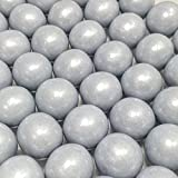 Large 1 Shimmer Silver Gumballs - 2 Pound Bags - About 120 Gumballs Per Bag - Includes How to Build a Candy Buffet Guide