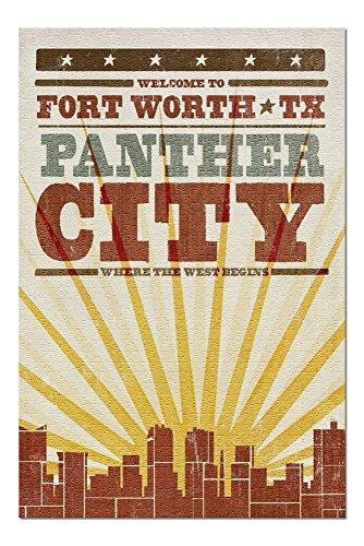 - Fort Worth, Texas - Skyline and Sunburst Screenprint Style (20x30 Premium 1000 Piece Jigsaw Puzzle, Made in USA!)