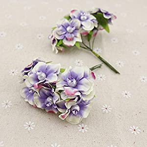 GSD2FF 6pcs Pearl Silk Artificial Flowers Garland Head Wreaths for Wedding car Decoration Bouquet Decorative Corsage,Purple 65