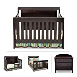 Cribs with Attached Changing Table Dresser Simmons Kids Broadway 5-Piece Black Espresso Nursery Furniture Set Including: Crib| 4 Drawer Dresser | Changing Top | Toddler Full Size Bed Rails |Guardrails