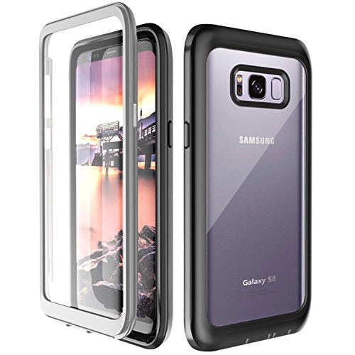 Samsung Galaxy S8 Case,yDreamj Full-Body Rugged Clear Bumper Case with Kickstand Built-in Screen Protector Wireless Charging Support for Samsung Galaxy S8 (Black/Transparent)