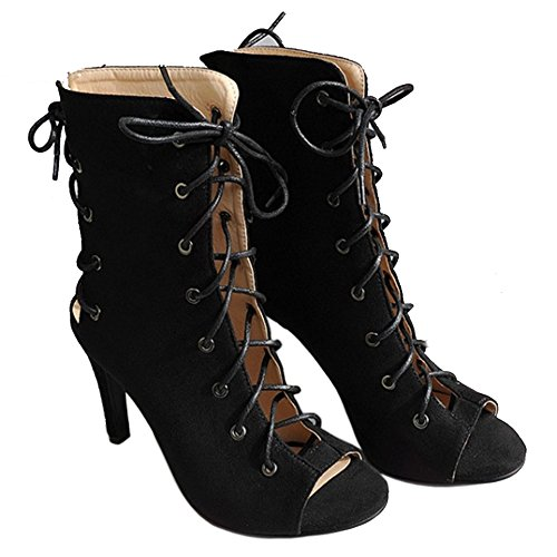 Moda Scarpe Black Gladiator TAOFFEN Donna Stringate 5qpx4wH7