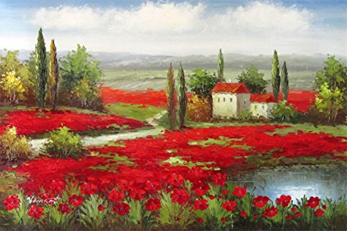 100% Hand Painted Canvas Oil Painting for Wall Art Decor, Italy Tuscany Poppy Fields Vineyard Art Oil Painting Reproduction/ Replica