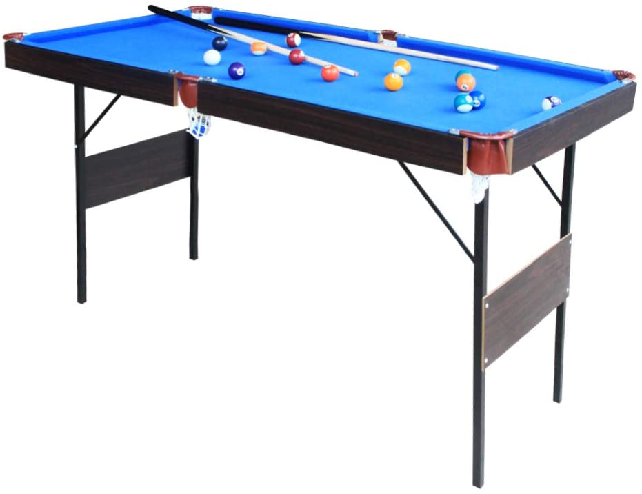 55 Inch Steady Billiard Table Indoor Leisure Pool Table Space Saving Billiard Table for Kids and Adults with Cues Vocheer Folding Pool Table Chalk Ball Brush Included Rack