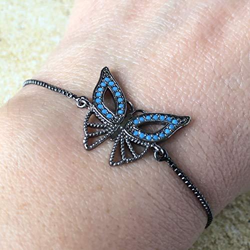 (Butterfly Charm Adjustable Bracelet for Women & Girls - Sliding Clasp Gunmetal Plated Brass - Blue CZ Freedom Jewelry )