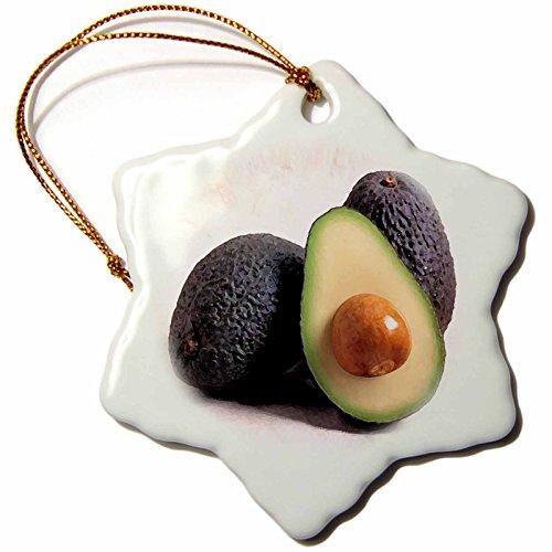 3drose-avocado-snowflake-porcelain-ornament-3-inch