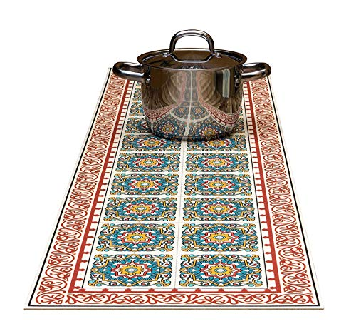 TIVA DESIGN Kitchen & dining table runner 2 in1 Decorative & Trivet Handles Heat Up to 365F, Anti Slip, Convenient for Hot Dishes and Pots, Hand Washable (7248 Barcelona Red) ()