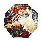 Ethel Ernest Folding Windproof Umbrella Amazing Ballet Dancer Painting Waterproof Auto Foldable Umbrella