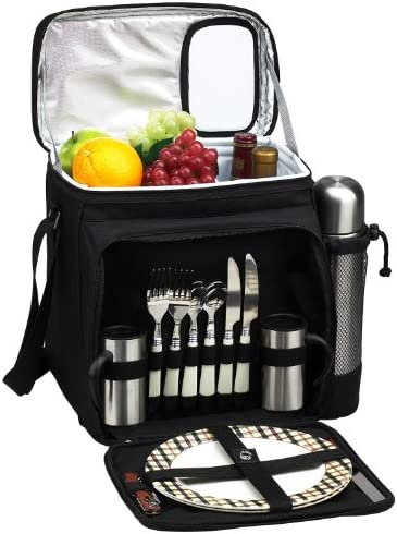 Picnic at Ascot Insulated Picnic Basket Cooler Fully Equipped for 2 with Coffee Service – Black