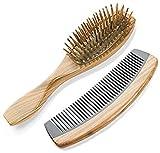 2-Count Wooden Hair Brush and Comb Set: Natural Green Sandalwood Cushion Massage Hair Brush and Sandalwood Buffalo Horn Comb