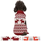Blueberry Pet Vintage Festive Red Christmas Reindeer Holiday Festive Dog Sweater, Back Length 14