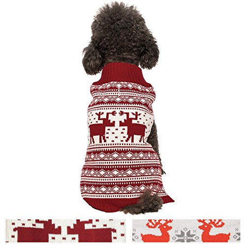 [Blueberry Pet Vintage Festive Red Christmas Reindeer Holiday Festive Dog Sweater, Back Length 14