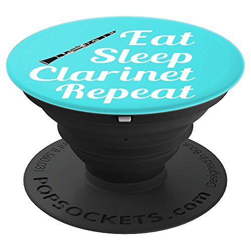 Clarinet Player Gift - Eat Sleep Clarinet Repeat - Aqua - PopSockets Grip and Stand for Phones and Tablets