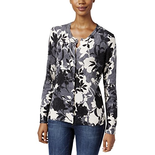 Karen Scott Womens Button-Down Printed Cardigan Sweater Black M