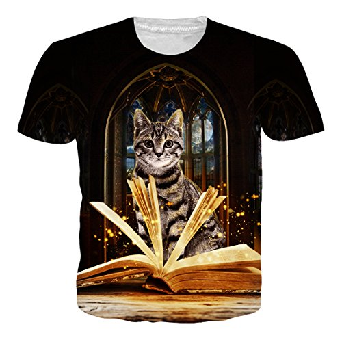Alistyle Mens Womens Cute 3D Cat Print T-Shirts Noverty Printing Pattern Tees Small