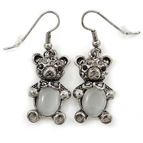 Hematite Bear - Marcasite Hematite Crystal Bear Drop Earrings In Antique Silver Tone - 40mm L