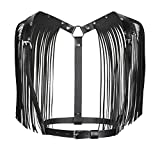 Freebily Women PU Leather Adjustable Body Chest Harness Belt With Shoulder Tassel