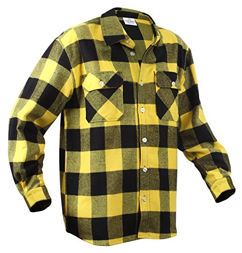 Rothco Heavy Weight Plaid Flannel Shirt, Yellow, X-Large (Flannel Yellow Plaid)