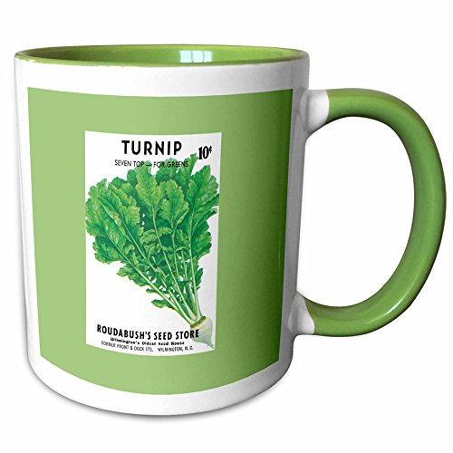 (3dRose BLN Vintage Seed Packet Reproductions - Turnip Seven Top for Greens Vegetable Seed Packet Reproduction - 15oz Two-Tone Green Mug (mug_170950_12))