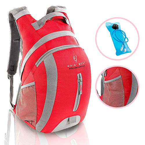 Goin' West 30L Hydration Pack Hiking Backpack - Ultralight, Extremely Comfortable with Double Buckle Technology - 2L BPA Free Water Bladder - For Running, Hiking, Backpacking, Cycling & Camping