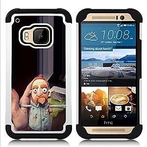 """HTC One M9 /M9s / One Hima - 3 en 1 impreso colorido de Altas Prestaciones PC Funda chaqueta Negro cubierta gel silicona suave (Louie comediante Barba jengibre"""")"""