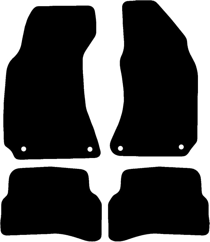 Saloon Only Carsio Tailored Black Carpet Car Mats for Passat 2005-2010 4 Piece Set with 4 Oval Clips
