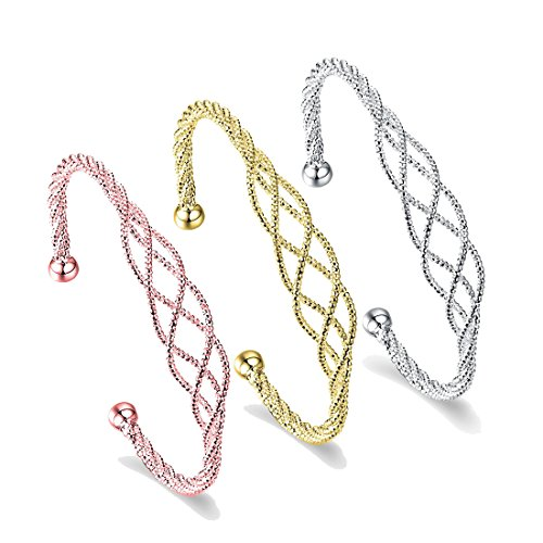 Twist Wire Bracelet (ZUOBAO Jewelry Gold Plated Elastic Adjustable Cuff Bangle Twist Cable Wire Bracelet, 2-Tone (3 Pcs Sets))