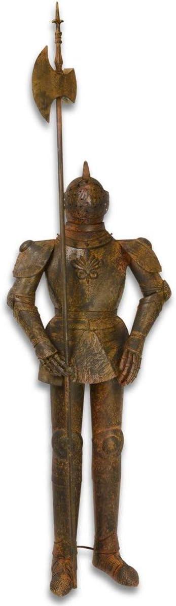 Casa Padrino Armadura Caballero con Lanza marrón Antiguo H. 215 cm - Armadura de Hierro Deco Medieval en óptica de óxido