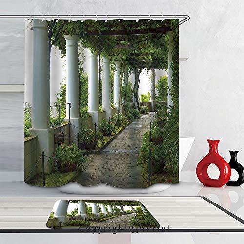 - Modern Design Bathroom Curtain Waterproof Shower Curtain and Rug Set,Set of 2(72