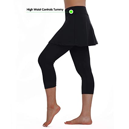 1a806a9fc0d09b ANIVIVO Skirted Legging for Women, Women Skirted Capri Leggings Tennis Pants  with Ball Pockets& Sports