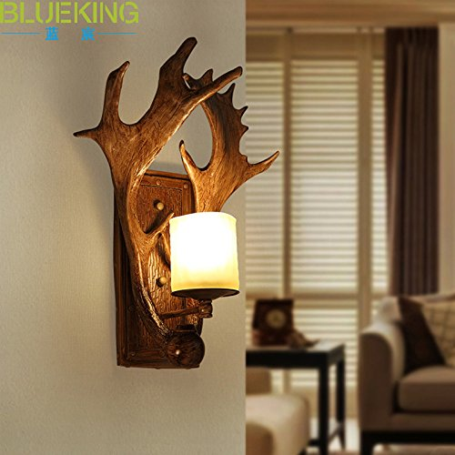 Avanthika E27 Wall Sconces Mounted Wall Lamps Antique Wall Lamp Resin Antler Lamps Rustic Garden Balcony Hyun-Off Study Room Decoration Light