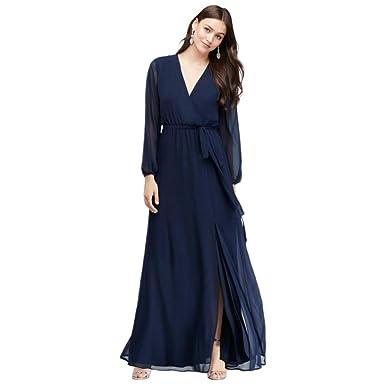 c26e34693ce David s Bridal Long Sleeve Chiffon Faux-Wrap Bridesmaid Dress Style W60041  at Amazon Women s Clothing store