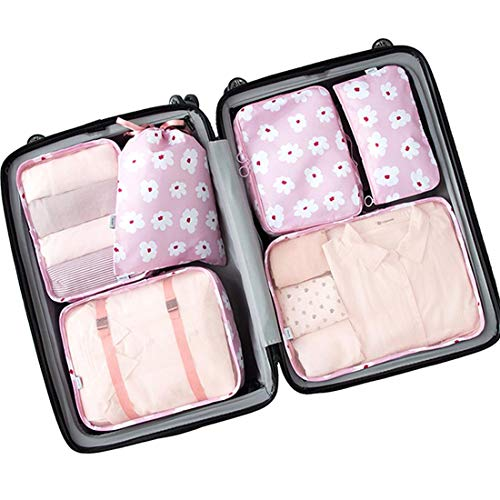 Luggage Organizer, Packing Cubes For Travel, Compression Cells, Accessories Bags Made With Wearable Waterproof Material. Perfect for Tavel, Long Trips, Camping, 6 Pieces (6 PCS - Pink Flower)