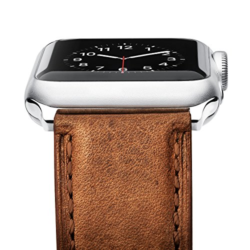 [Upgraded] Apple Watch Band, Benuo [Vintage Series] Premium Genuine Leather Strap, Classic Bracelet Replacement with Secure Buckle, Adapters for iWatch Series 2/Series 1/Edition/Sport 42mm (Brown)