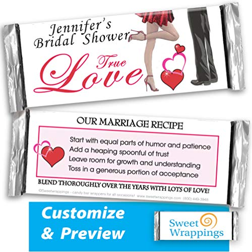 (Personalized Candy Bar Wrappers | Love True Bar | Wedding, Anniversary, Bridal, Shower Party Favor, Personalized, Custom | (36 Wrapper Kit) - Fits Hershey's 1.55oz Chocolate Candy)