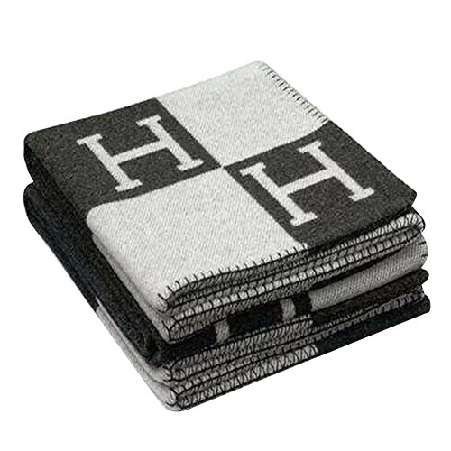 - Accreate Fashionable Comfortable H-Pattern Wool Cashmere Plaid Blanket Soft Warm Blanket Bed Sheet for Sofa or Travel 130180cm (Black and White H)