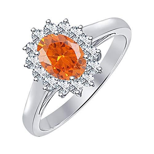 tusakha Oval Shape Orange Sapphire & White Diamond 14K White Gold Over .925 Sterling Silver Engagement Cluster Halo Rings for Women's