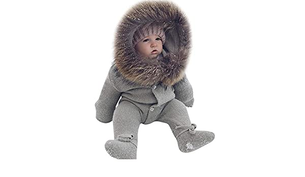8837cf13a86 Amazon.com   AutumnFall Infant Baby Rompers Winter Clothes Newborn Baby Boy  Girl Knitted Sweater Jumpsuit Warm Faux Fur Hooded Kid Toddler Outerwear ...