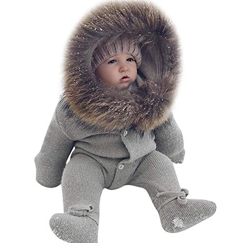 MOONHOUSE Toddler Kids Baby Girl Coat,Christmas Solid Winter Hooded Knit Warm Jacket Romper Jumpsuit Coat Party Outfits (6-12 Months, Gray)