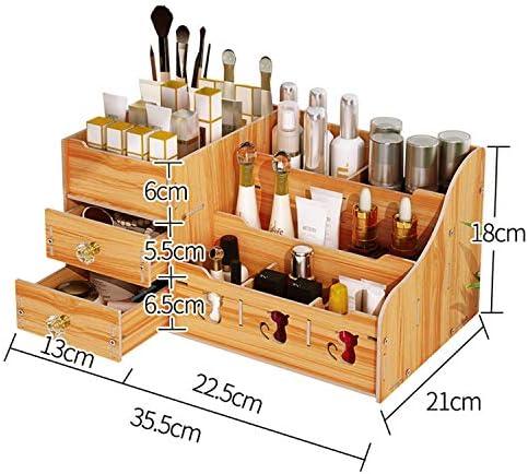 Kangsur Desktop Kosmetik Lagerschrank Büro Werkzeugkasten Hölzern DIY Multifunktional Aufbewahrungskiste H01-3