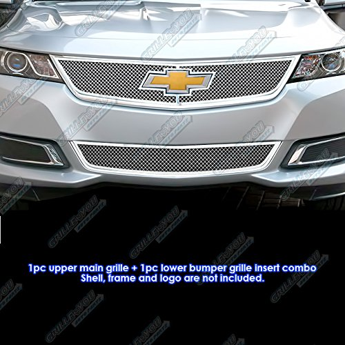 APS Compatible with 2014-2015 Chevy Impala Stainless Steel Bolt Over Mesh Grille Combo C71312T -