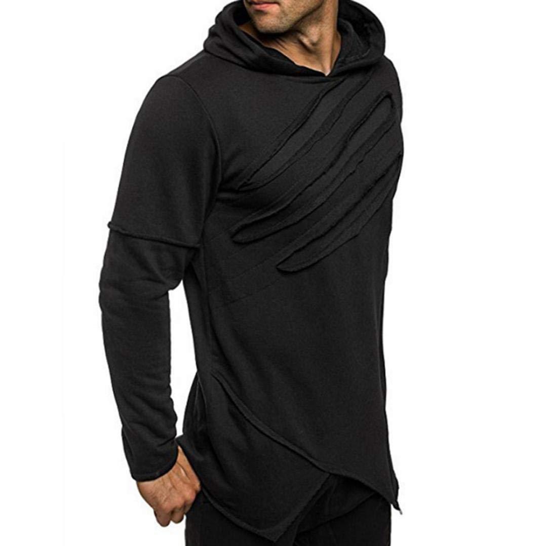 Autumn Warm Long Sleeve Hoodie Men's Jacket Coat Outwear Casual Tops Hooded Sweatshirt Tops (Black, XL)