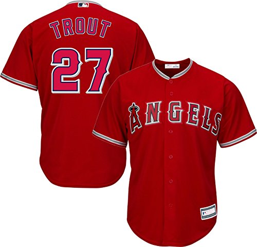 Mlb Replica Jersey Alternate Red - Mike Trout Los Angeles Angels of Anaheim MLB Majestic Youth Red Alternate Cool Base Replica Jersey (Youth Medium 10-12)