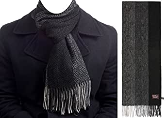 Le Ferre Men's Winter Fashionable Premium Quality 100% Pure Wool Long Scarf,WOOL13,Large