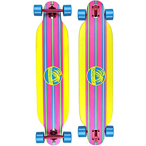 (PARADISE Stripe Complete Longboard (Yellow/Blue/Pink, 9.5 x 42-Inch))
